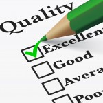 39596278 - quality control survey business products and customer service checklist with excellent word checked with a green check mark eps 10 vector illustration.
